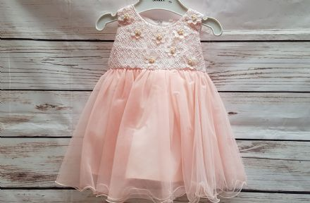 Infant Girls Pink Flower Bridesmaid Occasion Party Dress
